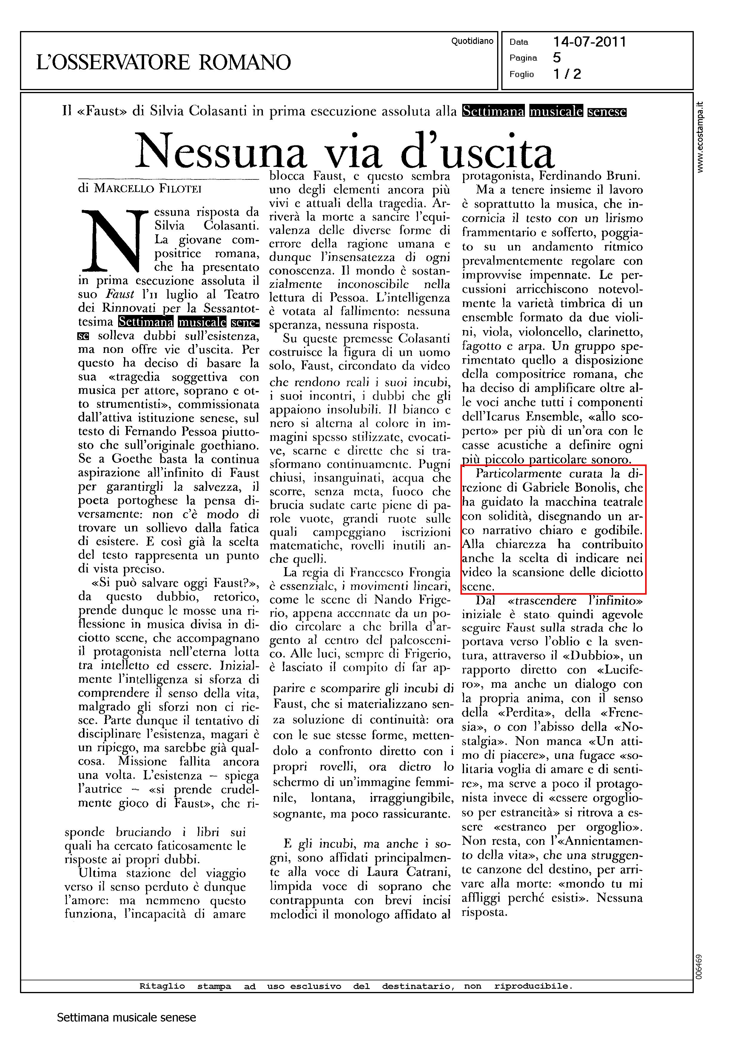 FAUST Osservatore Romano lug 2011